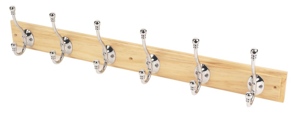 6 Ball-End Polished Chrome Hooks on Straight Pine Board 680 x 140mm