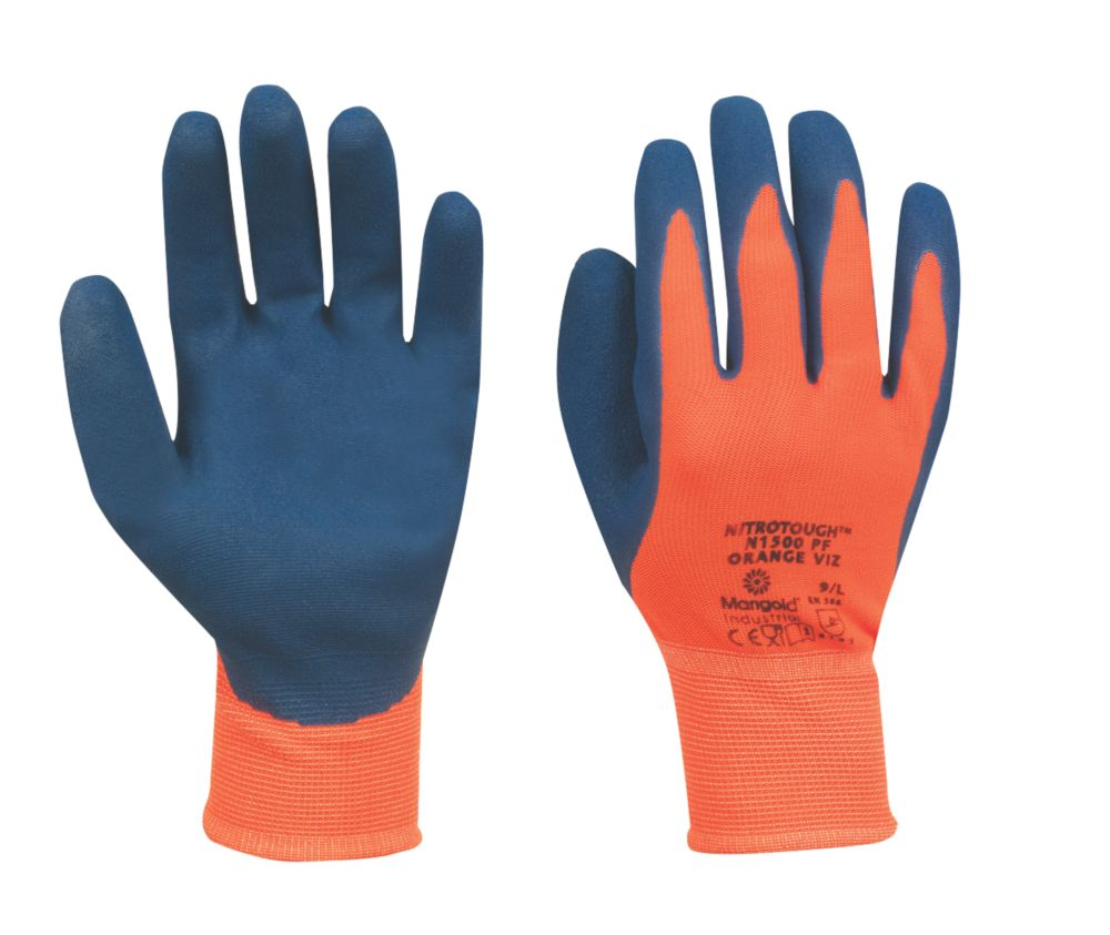 Marigold N1500 Palm Nitrile Dipped Gloves Orange Large