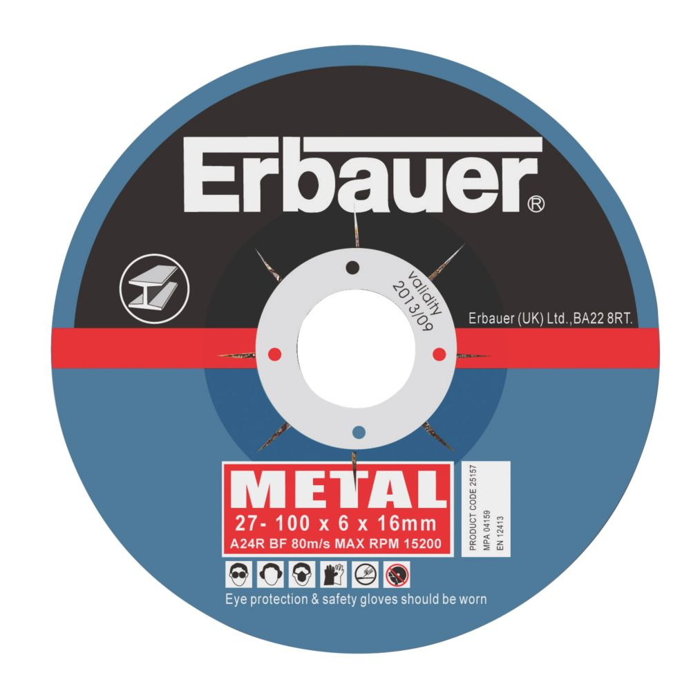 Erbauer Metal Grinding Discs 100 x 6 x 16mm Pack of 10