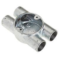 Deta Galvanised Metal Conduit 4-Way H Box 25mm