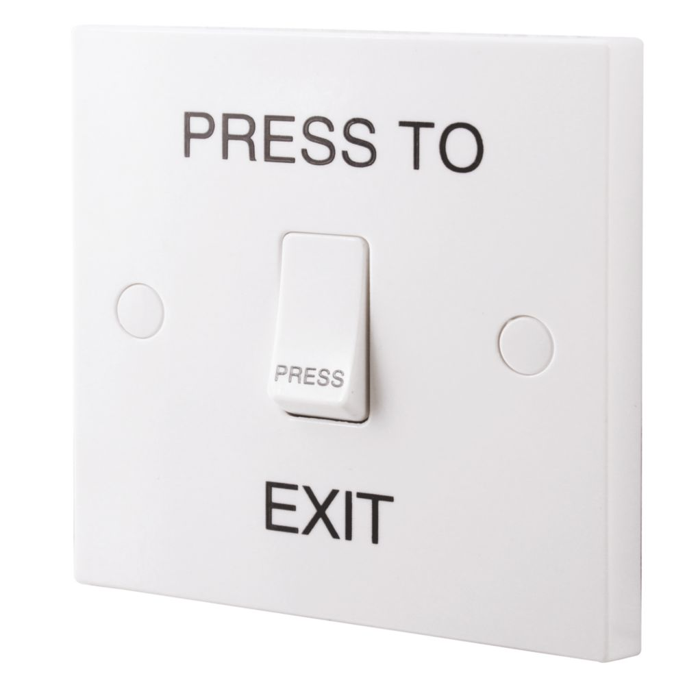 "British General 1-Gang 2-Way 10AX Switch with ""Press to Exit"" Text White"
