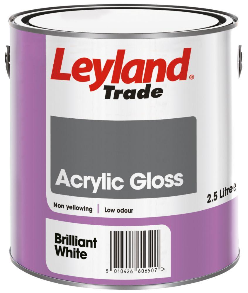 Leyland Acrylic Gloss Paint Brilliant White 2.5Ltr