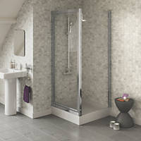 Swirl  Square Pivot Door Shower Enclosure  Silver 900 x 900 x 1800mm