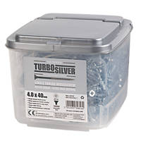 Turbo Silver PZ Double Self-Countersunk Woodscrews 4 x 40mm 1000 Pack