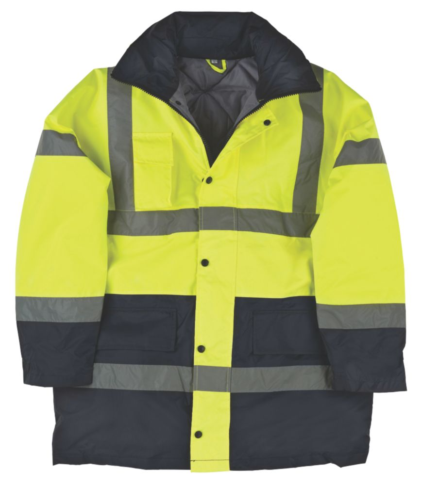 "Hi-Vis Padded 2-Tone Coat Yellow / Black X Large 57"" Chest"