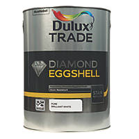 Dulux Trade Diamond Quick-Drying Eggshell Paint Pure Brilliant White 5Ltr