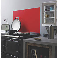 Lipstick Red Self-Adhesive Toughened Glass Splashback 900 x 750 x 6mm