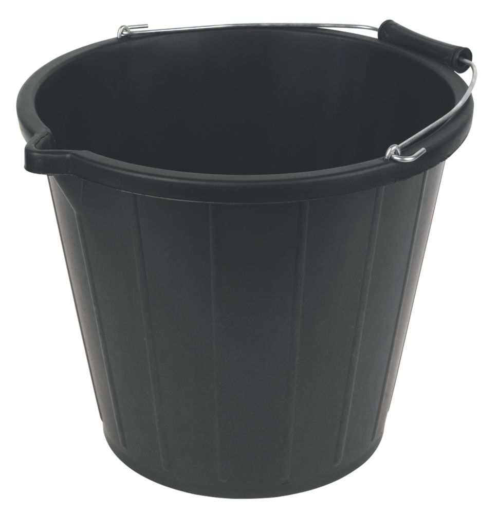 Heavy Duty Builders Buckets 3 Gallon/14Ltr Black Pack of 5