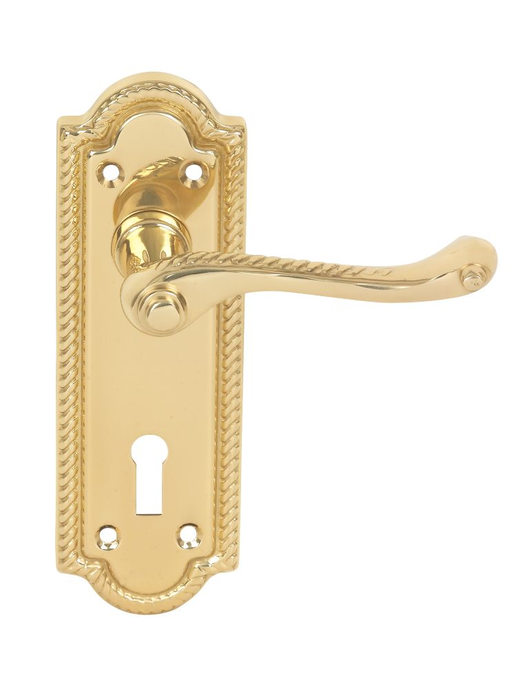 Eclipse Georgian Lever on Backplate Lock Door Handles Pair Polished Brass