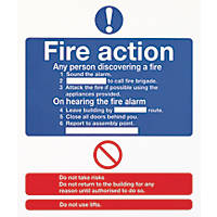 "Nite-Glo ""Fire Action"" Sign 210 x 148mm"