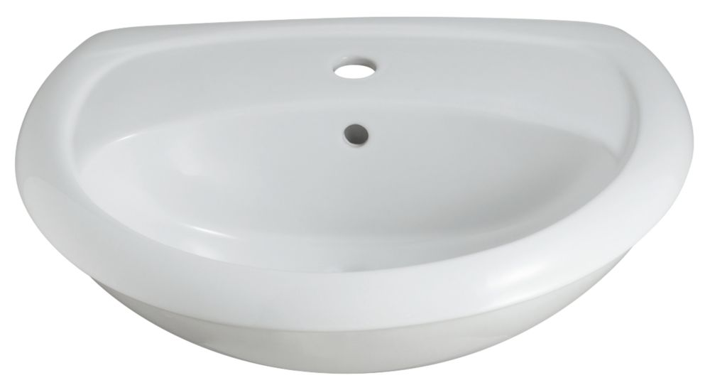 Contemporary Semi-Recessed Bathroom Basin 1 Tap Hole 560mm