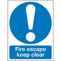 """Fire Escape Keep Clear"" Sign 200 x 150mm"