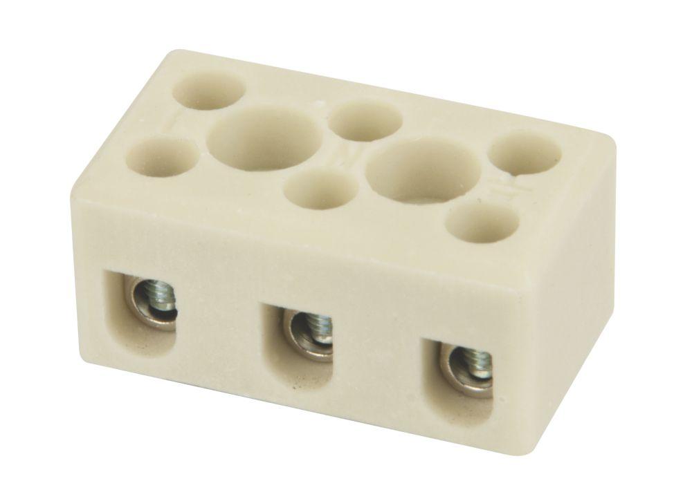 Hylec Triple Pole 24A Steatite Ceramic Terminal Blocks Pack of 5
