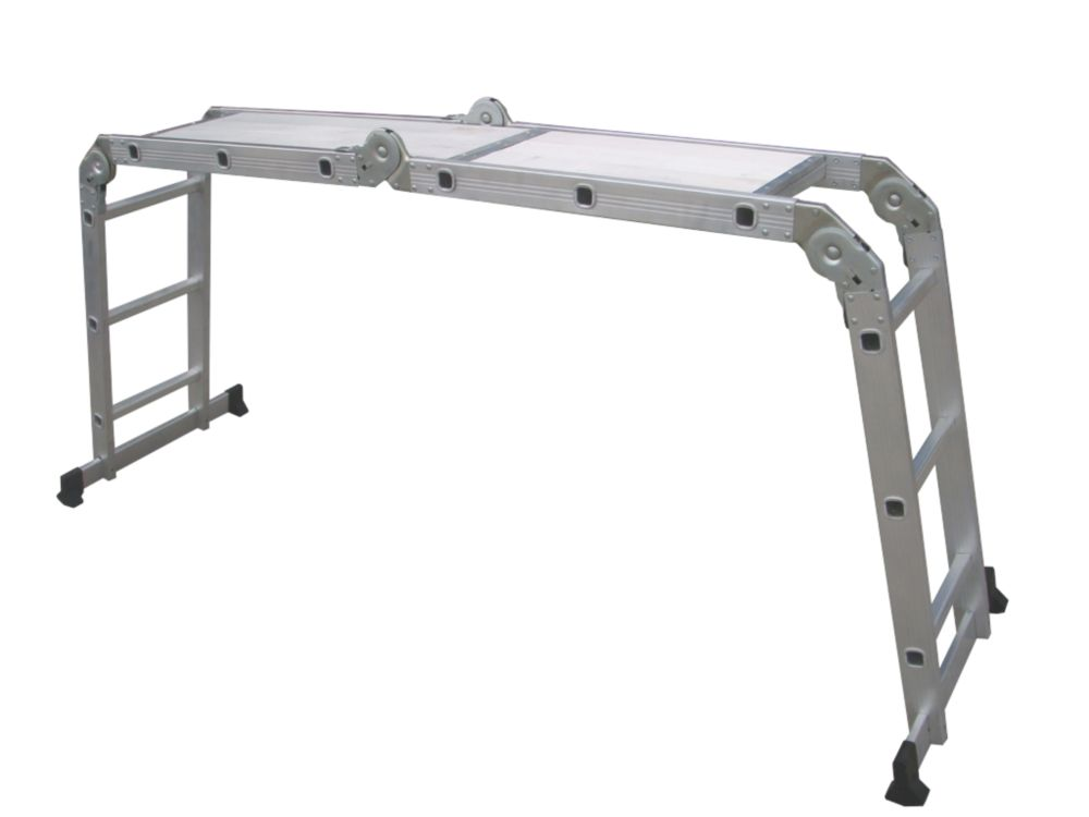 Multipurpose Ladder with Platform 4-Section 3-Rung 3.34m