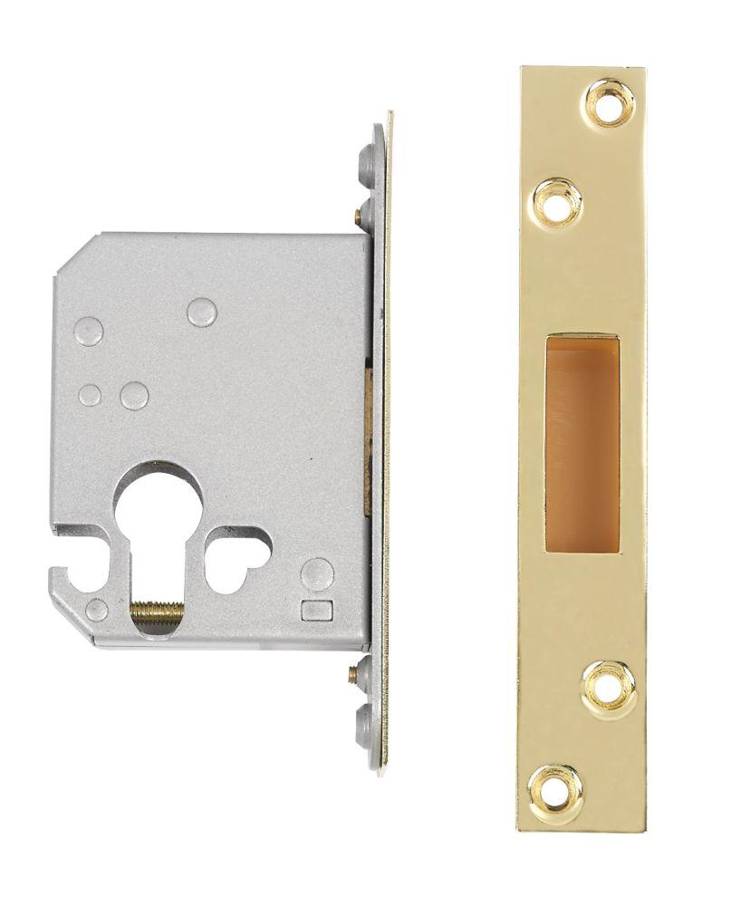 """Securefast Euro Cylinder Deadlock Brass 2½"""" (64mm) Backset"""