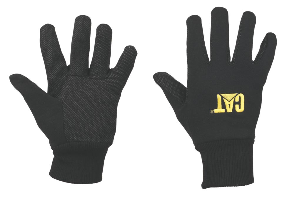 CAT General Handling Jersey Gloves with Microdot Palms Black Large