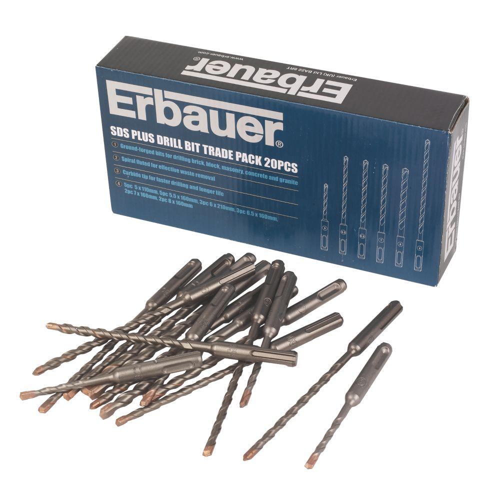 Erbauer SDS Plus Drill Bit Trade Pack 20Pc