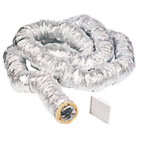 Manrose Aluminium Insulated Flexible Ducting Hose Silver 10m x 127mm