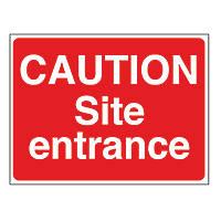 """""""Caution Site Entrance"""" Sign & Stanchion Frame  450 x 600mm"""
