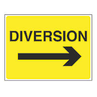"""Diversion"" with Arrow Right Stanchion Sign 450 x 600mm"