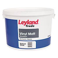 Leyland Trade Vinyl Matt Emulsion Paint Brilliant White 10Ltr