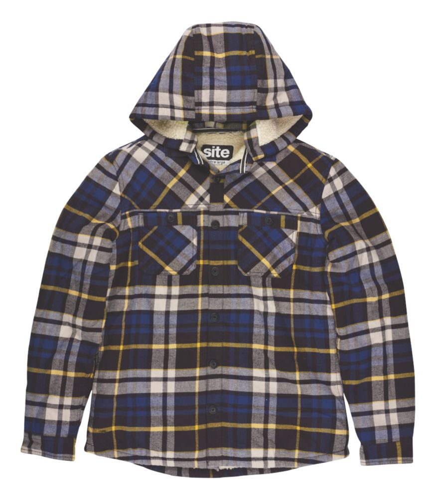 "Site Alpine Borg-Lined Hoodie Blue Check Medium 39-41"" Chest"