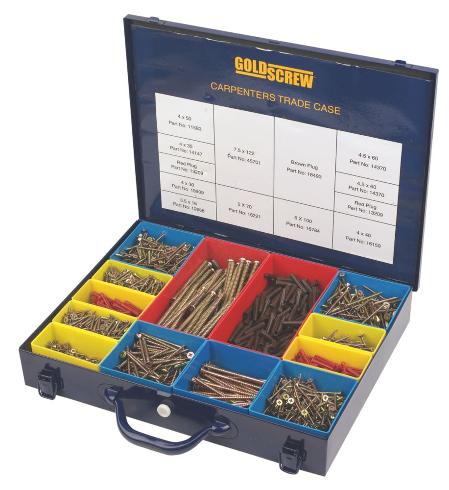 Goldscrew Carpenters Trade Case Zinc & Yellow Passivated 2000 Pieces