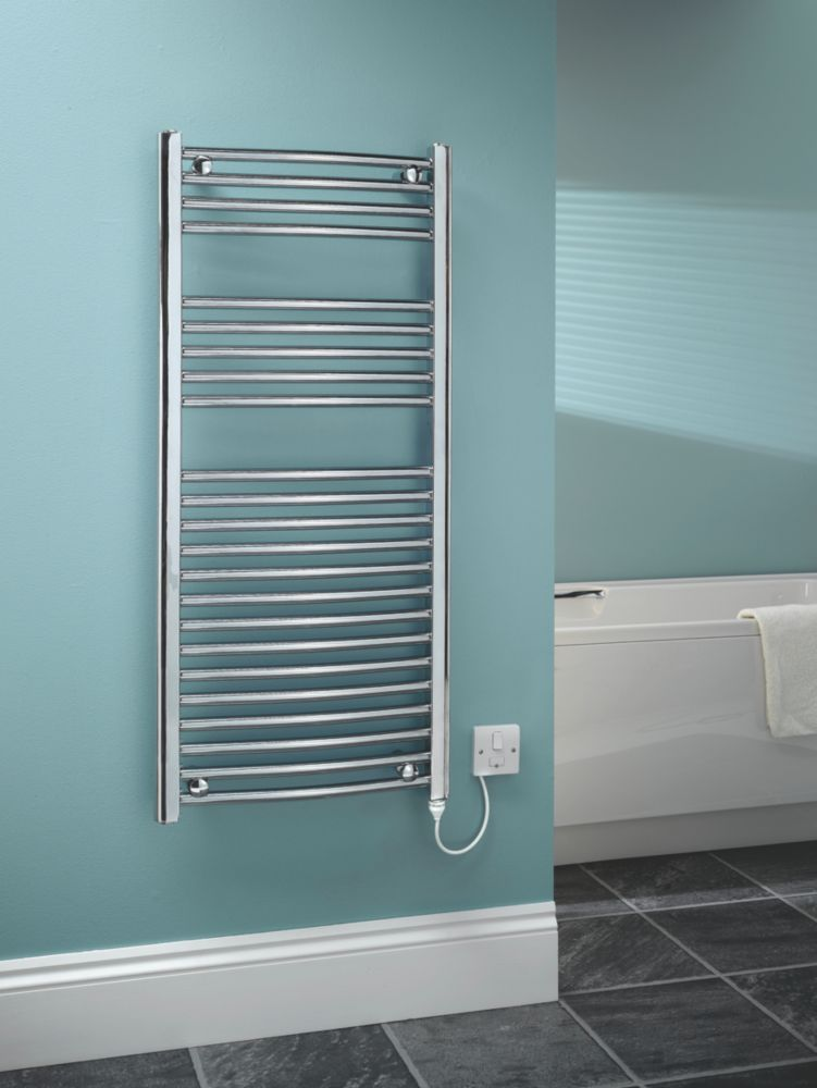 Kudox Curved Electric Towel Radiator Chrome 1100 x 500mm 250W 853Btu