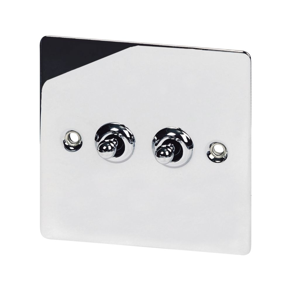 Volex 2-Gang 2-Way Toggle Switch Polished Chrome Flat Plate