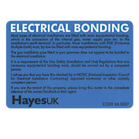 Hayes UK Electrical Bonding Labels Pack of 10