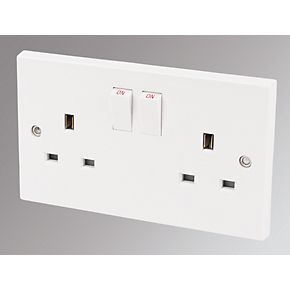 Marbo 13A 2 Gang Double Pole Switched Socket Pack of 30