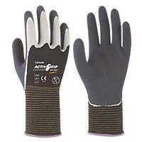 Towa ActivGrip XA-324 Latex-Coated Finger Gloves Grey / Black Large