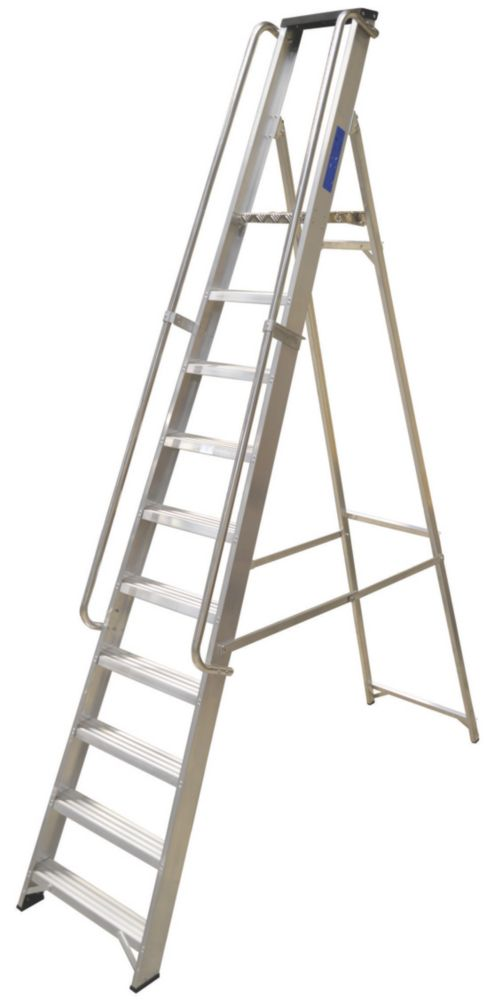 Lyte Heavy Duty Aluminium Platform Ladder & Safety Handrails 10-Tread 2.7m