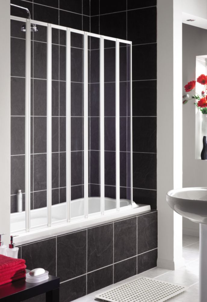 Aqualux Folding Bath Screen White / Clear 1430 x 1400mm
