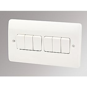 MK 6 Gang Light Switch White (2 Gang Plate)