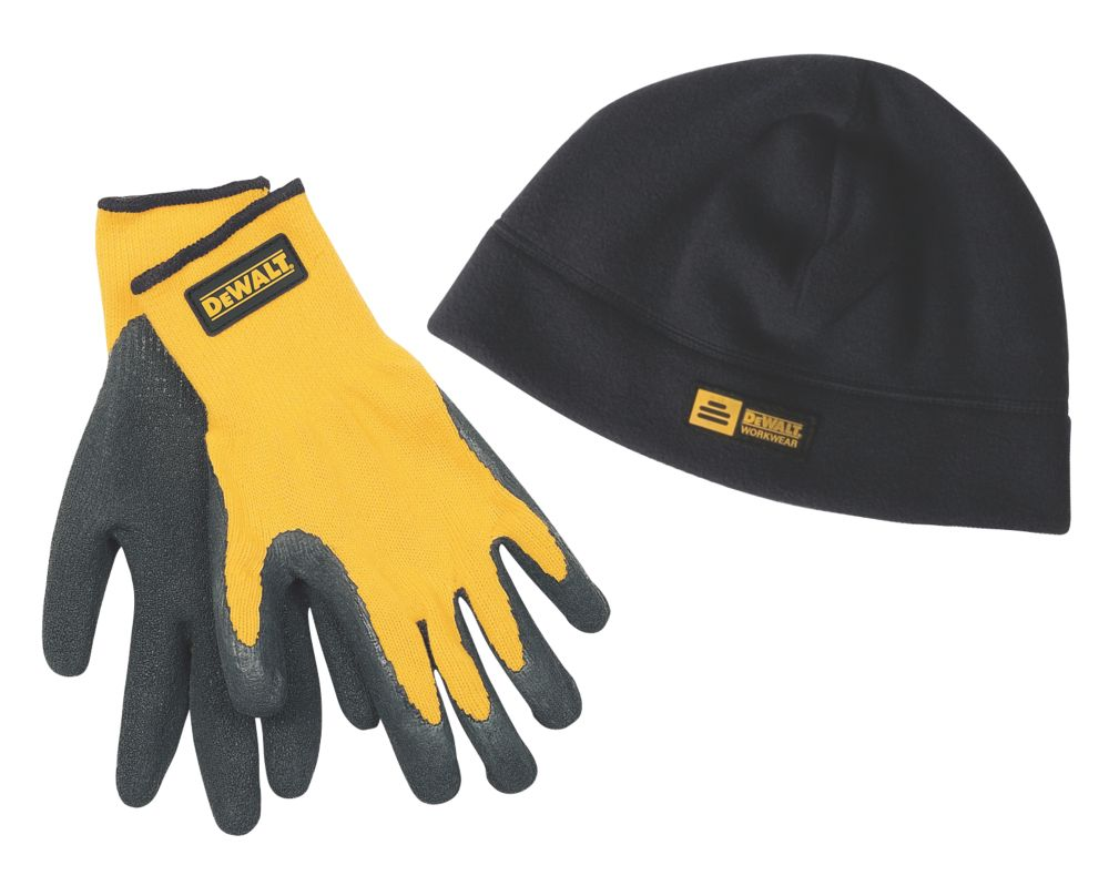 DeWalt Beanie Hat & Gripper Glove Set Black / Yellow