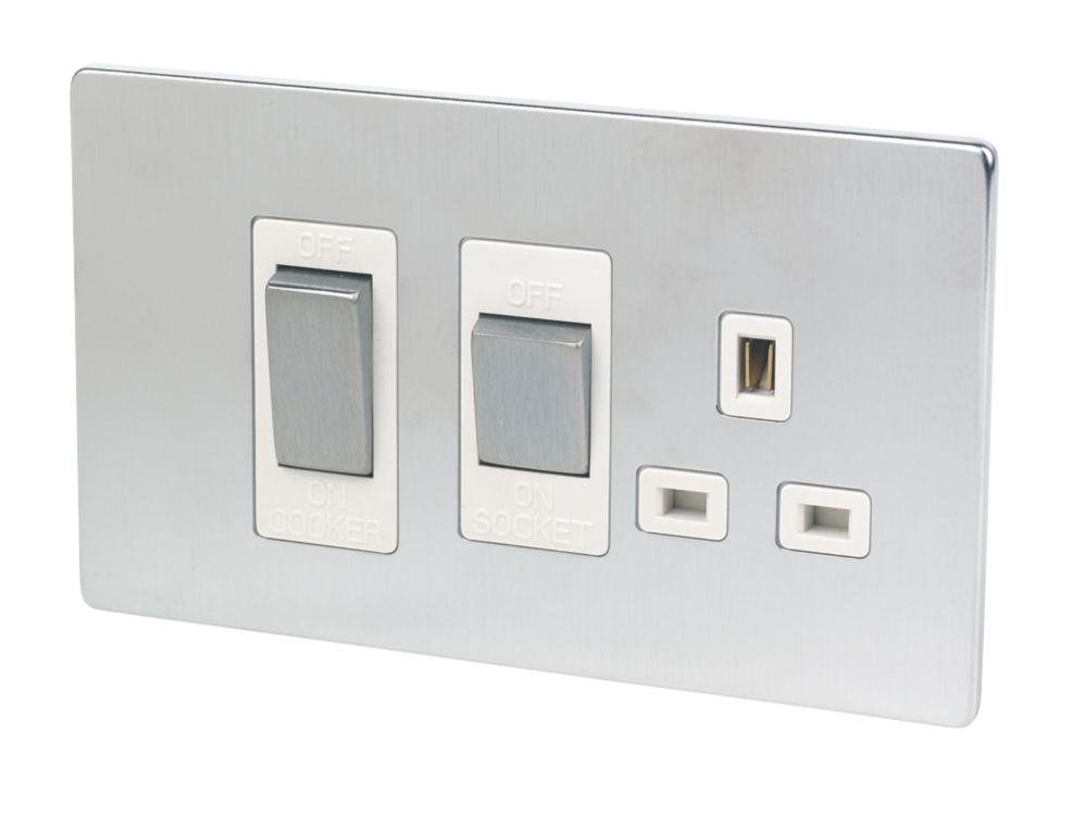 LAP 2-Gang 45A DP Cooker Switch & 13A Switched Plug Socket Brushed Chrome