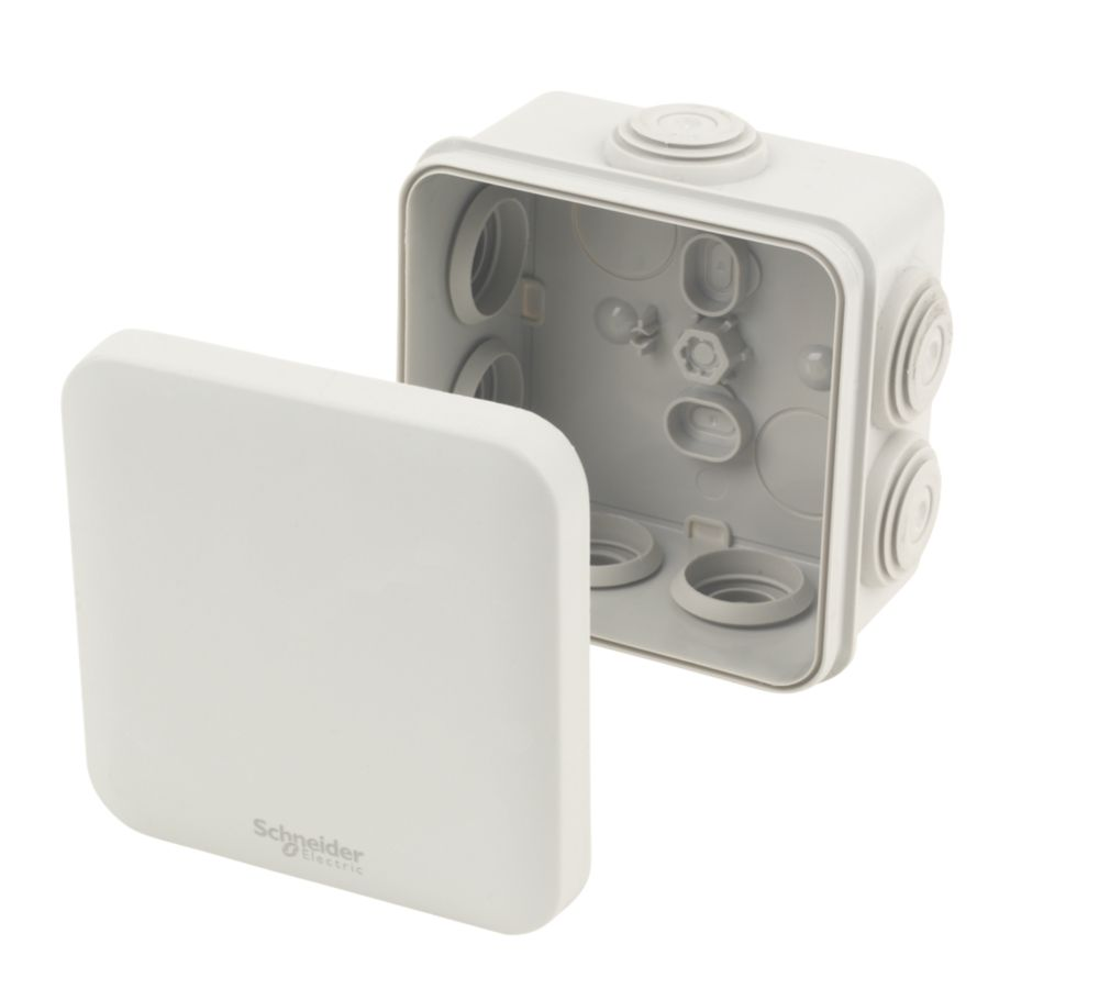 7-Entry Junction Box with Knockouts Grey 95 x 95 x 51mm