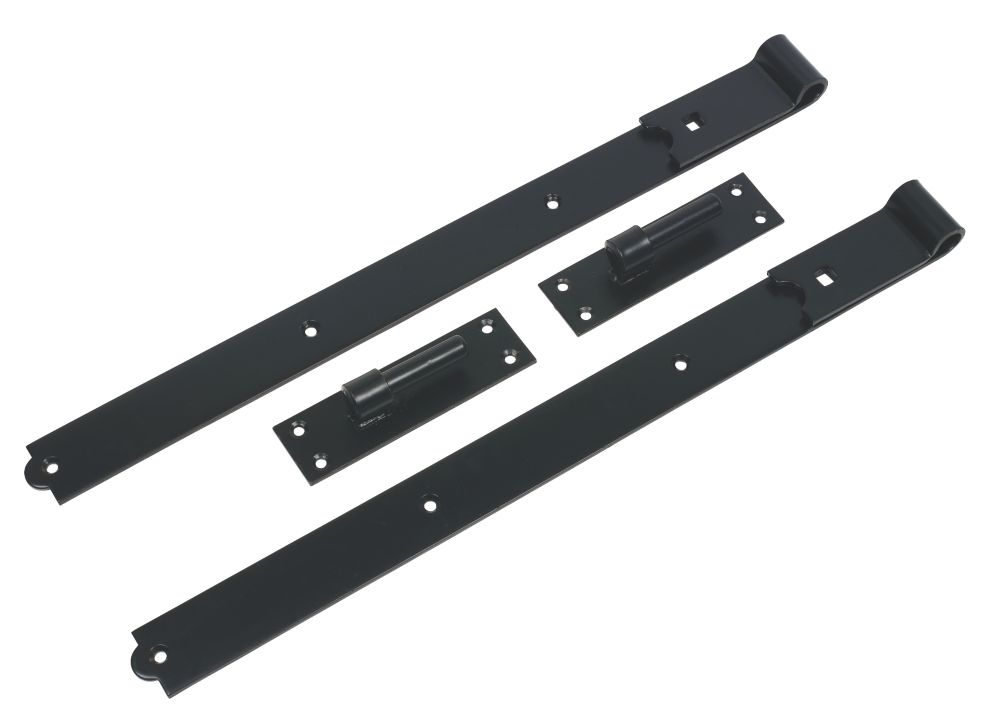 Gate Hinge Straight Pair Black 610mm