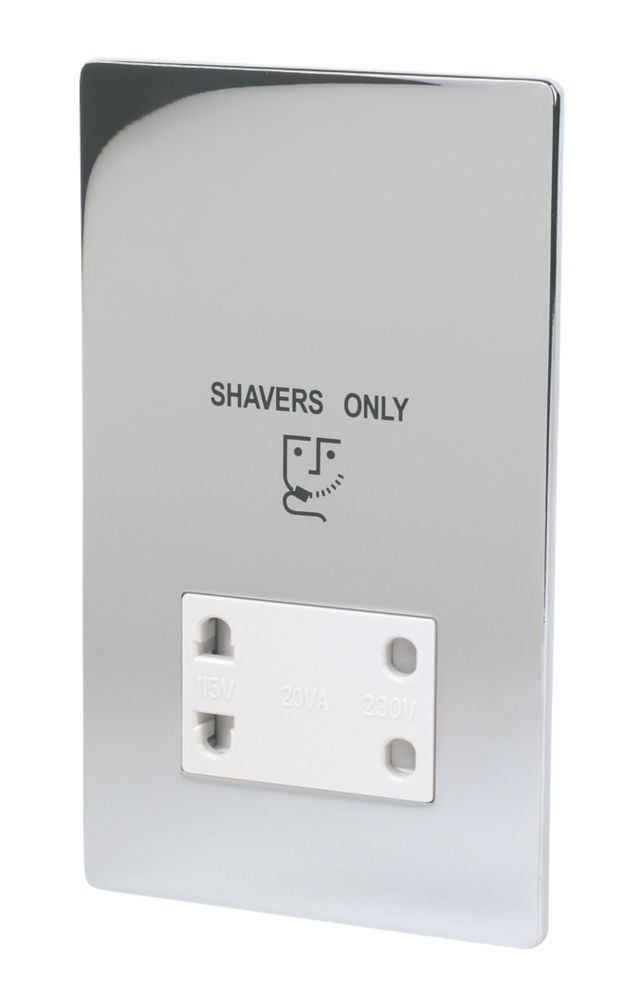 LAP Dual Voltage Shaver Socket 115/230V Polished Chrome