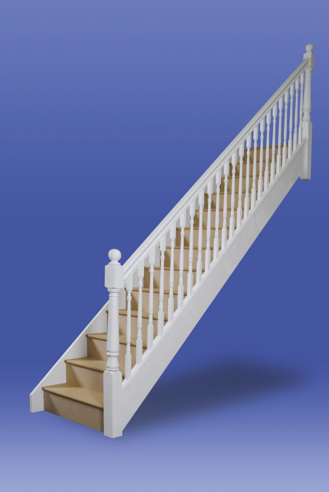Stairways Turned Straight Staircase RH Unfinished