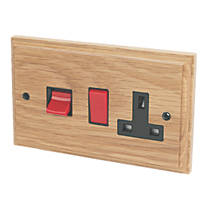 Varilight 45A Cooker Switch & 13A Switched Socket Classic Oak
