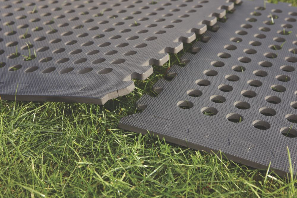 Mottez Interlocking Hollow Mat Grey 1.24 x 1.24m