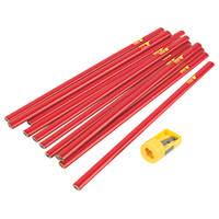 Forge Steel Carpenters Pencils & Sharpener Pack of 12