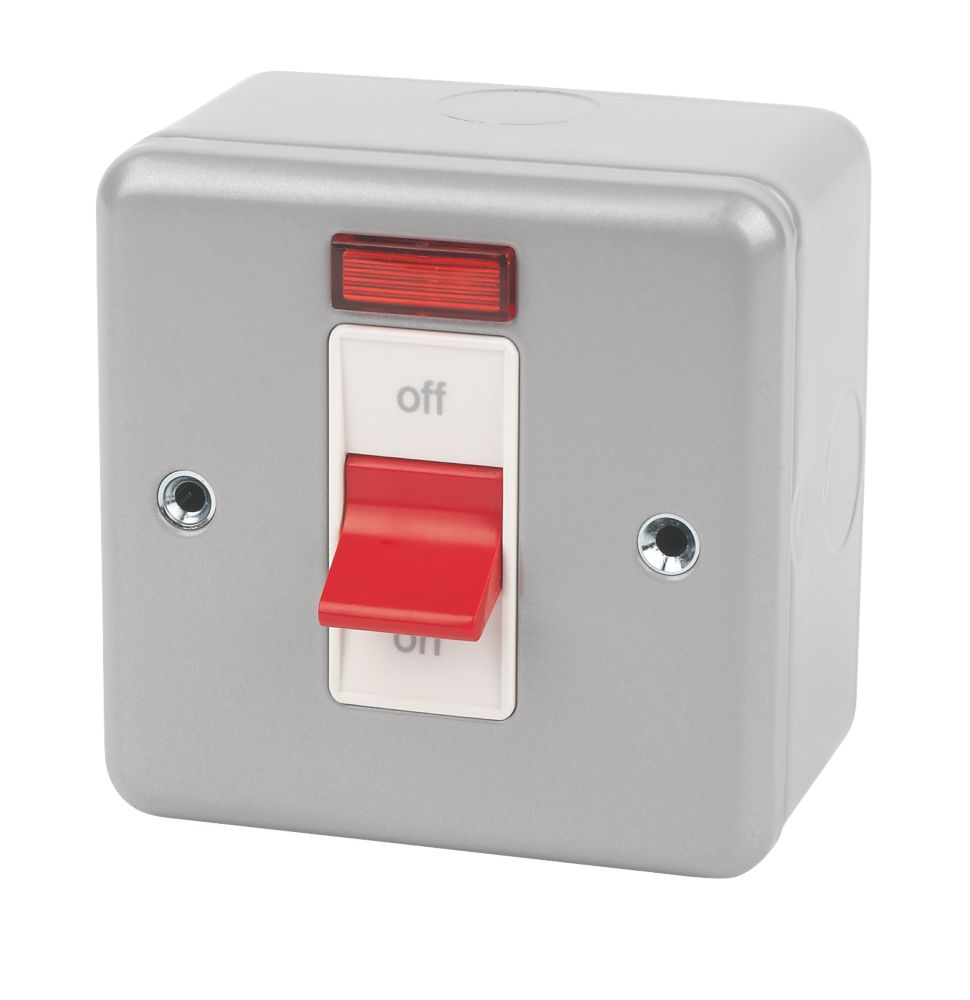 MK 1-Gang 32A DP Switch with Neon Metal-Clad