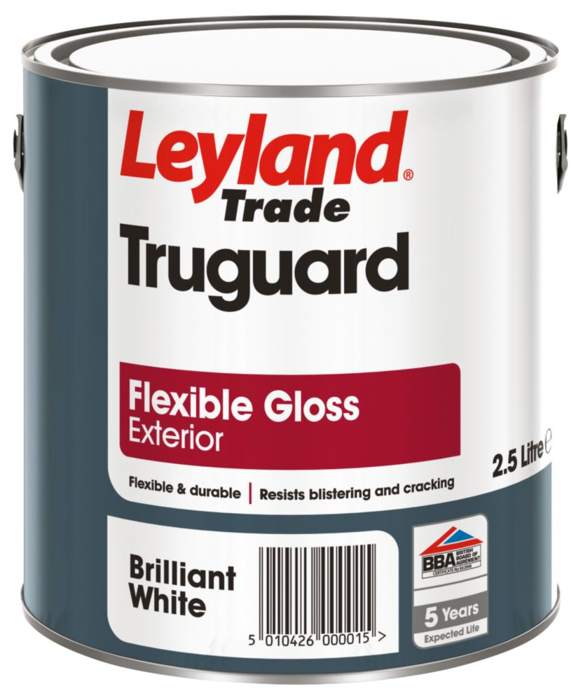 Leyland Truguard Flexible Gloss Paint Brilliant White 2.5Ltr