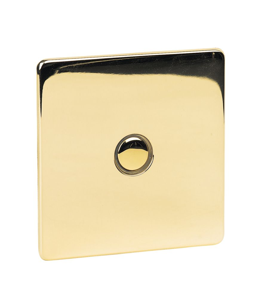 Crabtree 1-Gang 400W Touch Dimmer Pol Brass Flat Plate