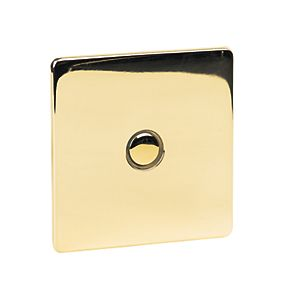 Crabtree 1G 400W Touch Dimmer Pol Brass Flat Plate