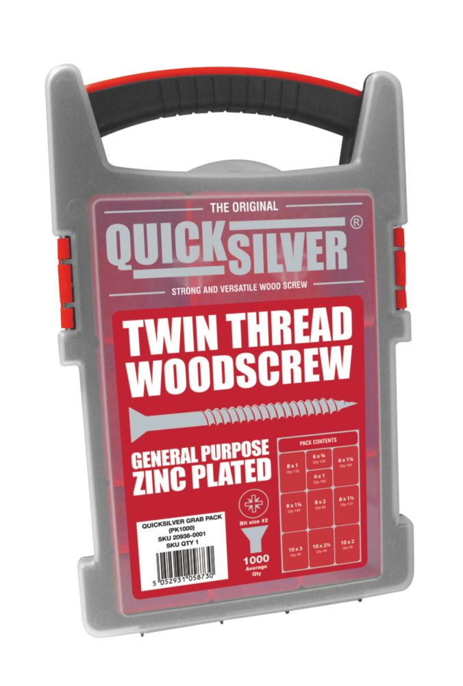 Quicksilver Woodscrews Trade Case Grab Pack 1000 Pieces