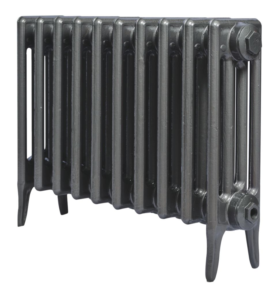Cast Iron 460 Designer Radiator 4-Column Gun Metal Grey H: 460 x W: 397mm